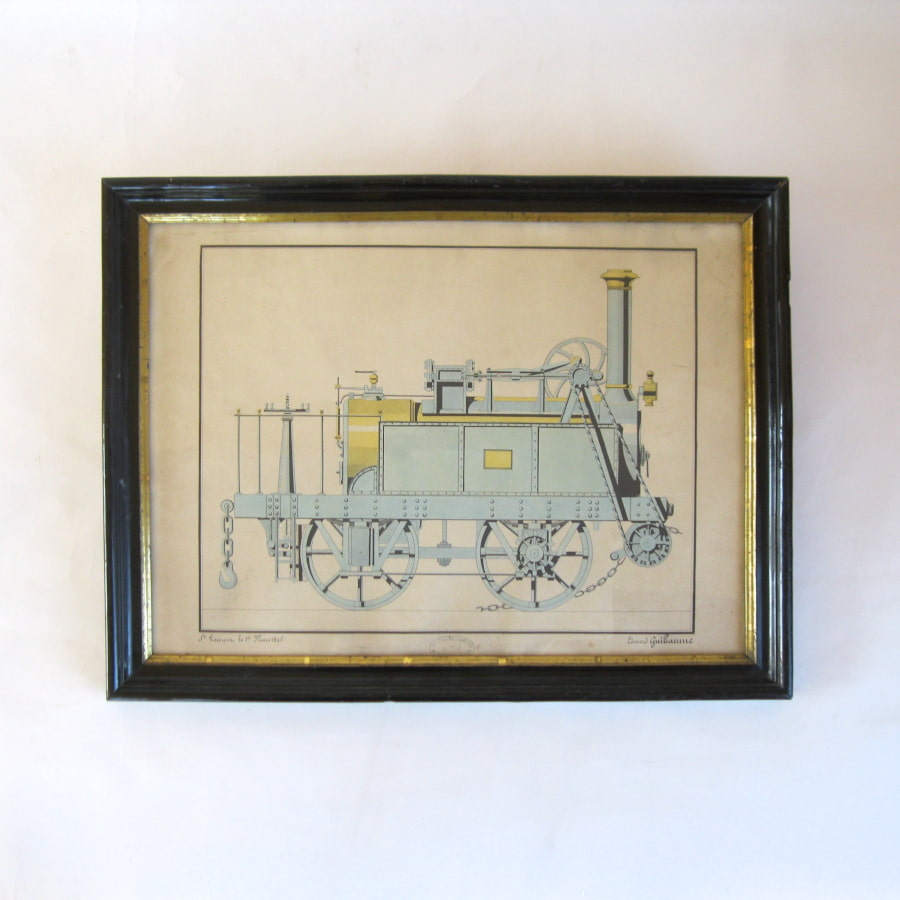 Drawing of a blue late 19th century steam engine