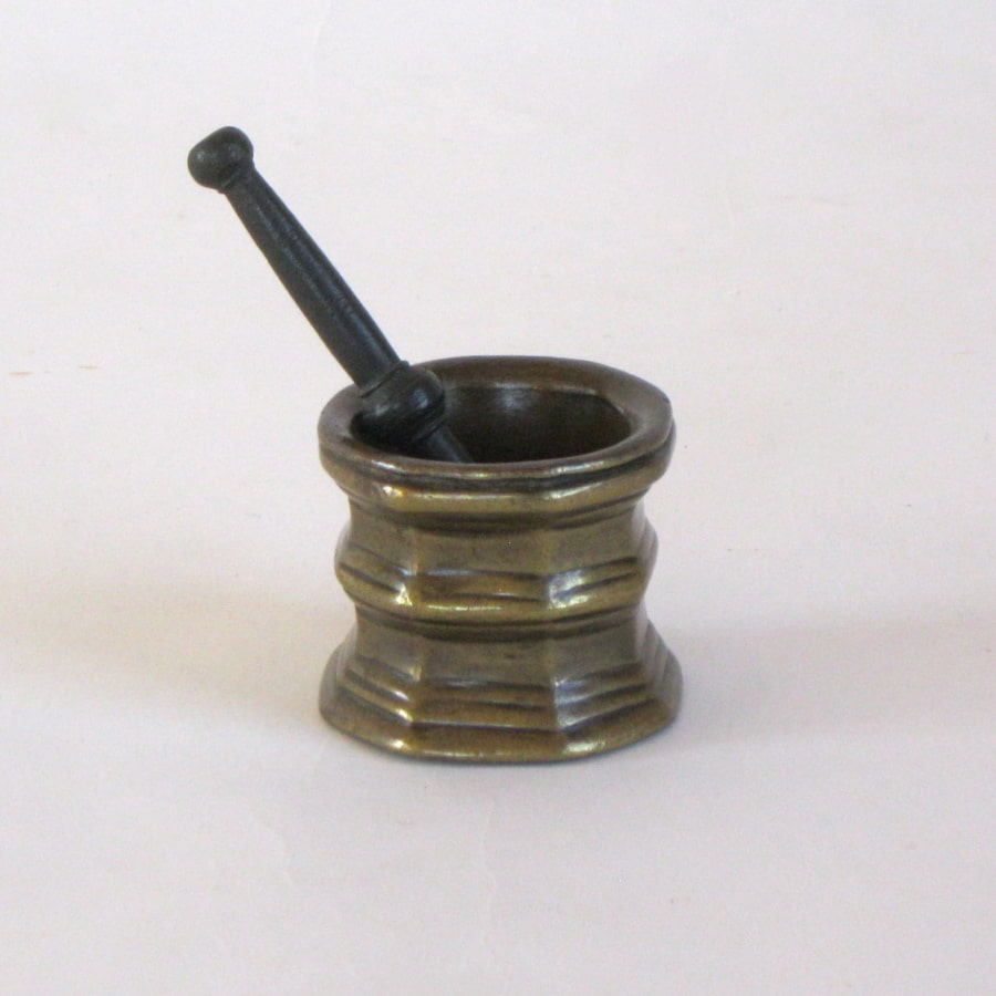 German bronze mortar with pestle