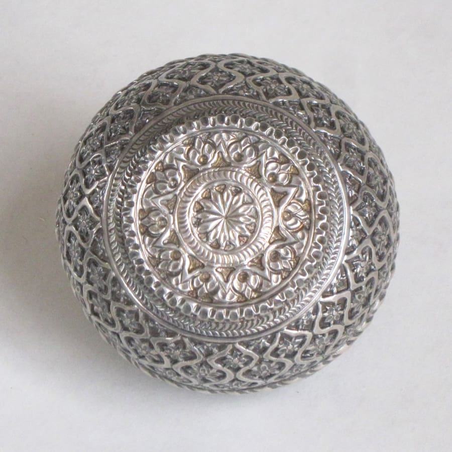 Bottom of Indian silver incense box
