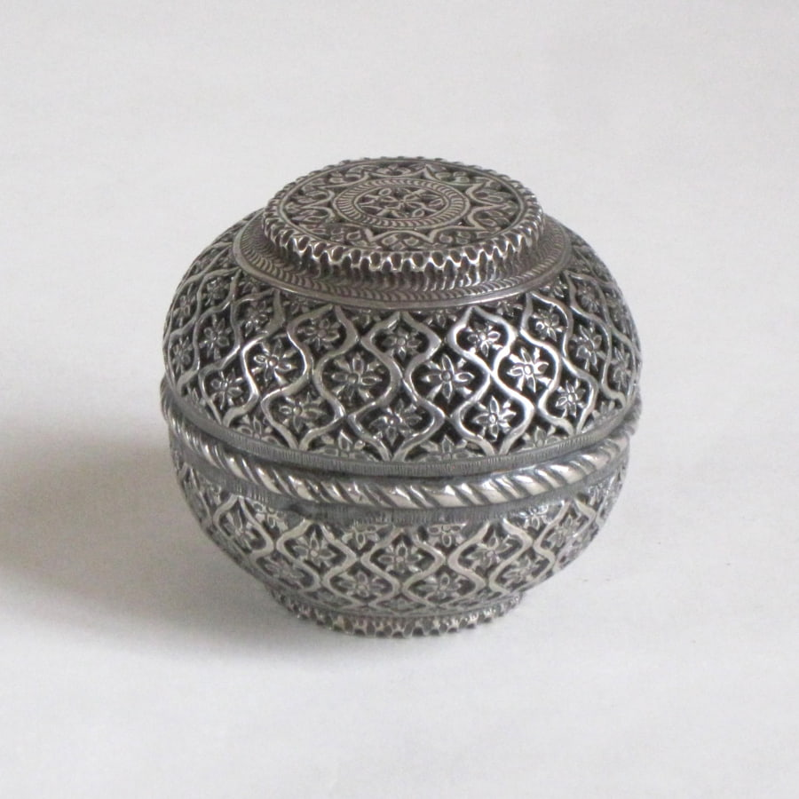 Indian silver incense box