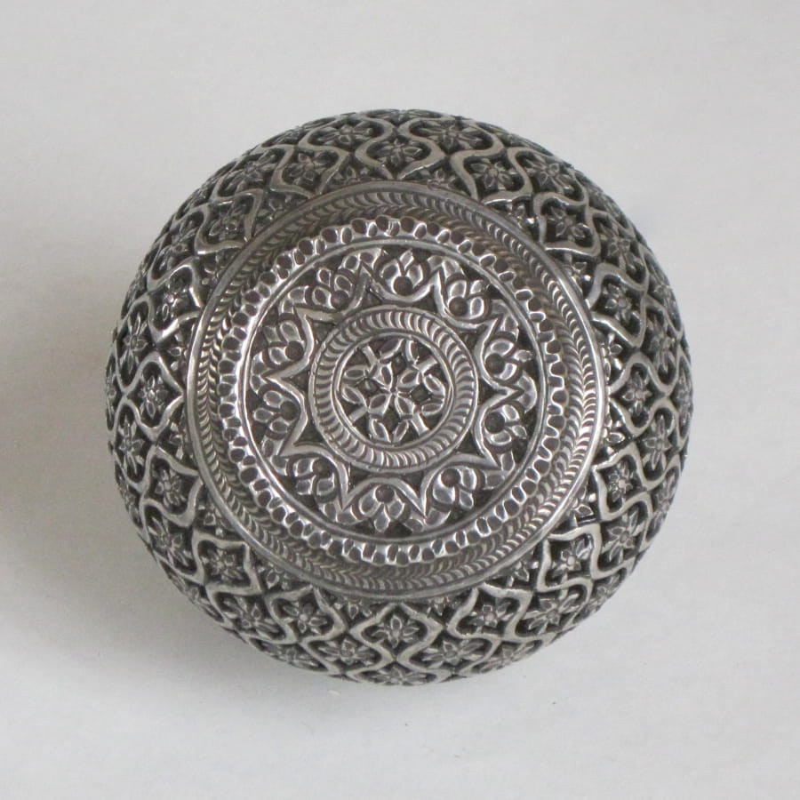 Top of Indian silver incense box