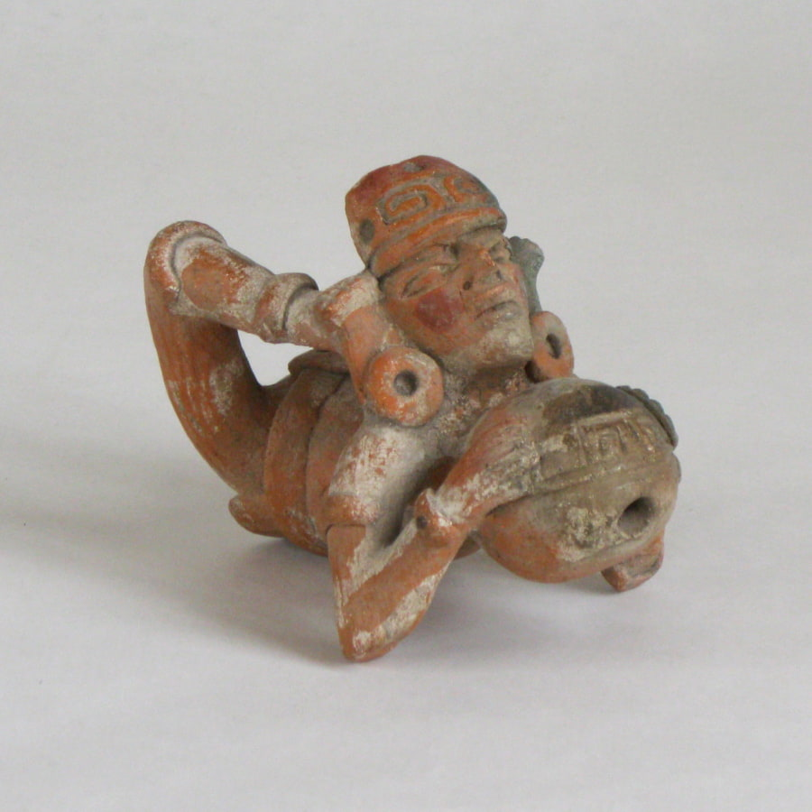 3/4 view of Maya terracotta ball player